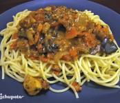 Receta de Espaguetis con pollo y champiñones