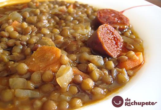 receta de lentejas caseras con chorizo