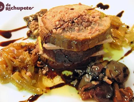 Pollo relleno de foie con setas