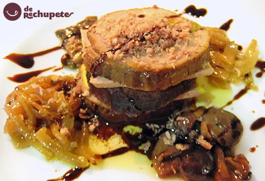 Pollo relleno de Mousse de foie con setas