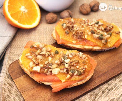 Tosta de salmón y naranja. Aperitivo fácil y delicioso