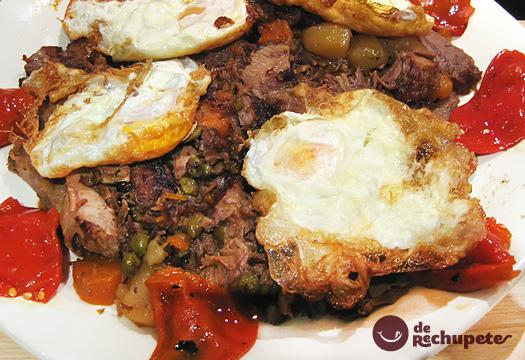Xarrete y huevos fritos con puntilla