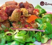 Receta de ensalada de canónigos con jamón al curry y vinagreta suave