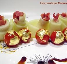 Ensalada de melón con jamón y tomates cherry a los dos oros