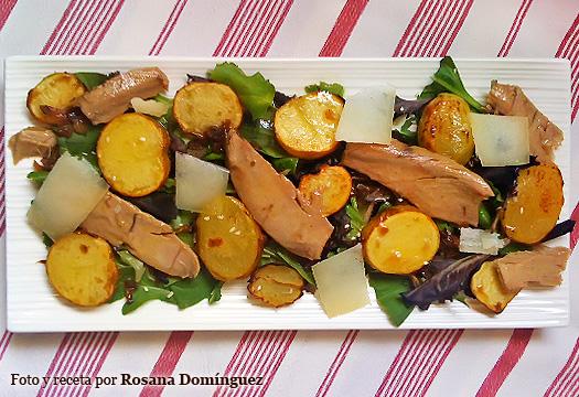 Ensalada de patatas, ventresca y queso de oveja