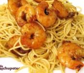 Receta de espaguetis con langostinos
