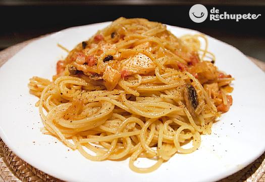 Espaguetis con salsa de naranja y mostaza Dijon. Receta paso a paso