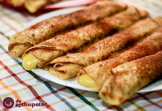 Filloas Caramelizadas Rellenas De Crema Pastelera