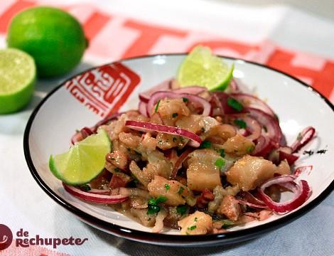 Cebiche Nikkei de corvina y pulpo. Cocina peruana