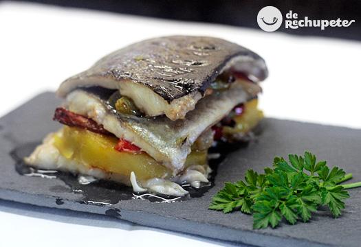Milhojas de Trucha con patatas y verduras