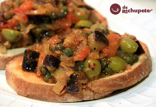 Caponata siciliana o estofado de berenjenas