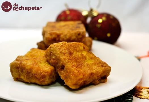 Leche frita con turrón de Jijona. Postre navideño