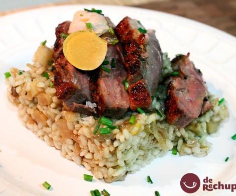 Magret de pato a la plancha acompañado de arroz blanco