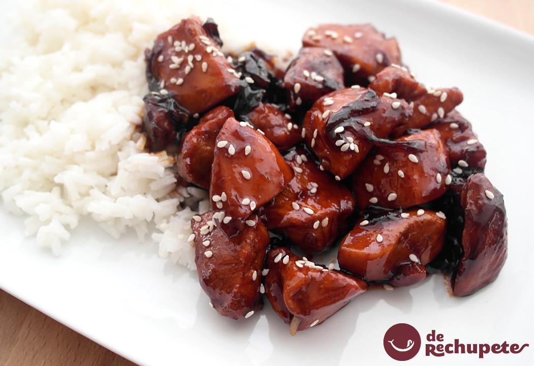 Cómo hacer pollo teriyaki con arroz blanco