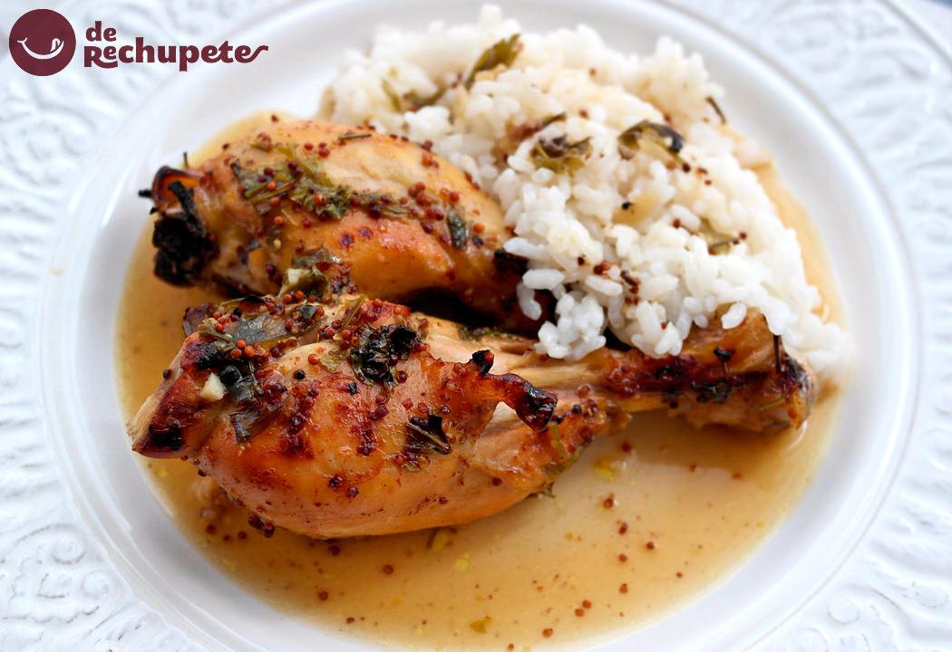 Pollo asado con mostaza y miel acompañado de arroz blanco
