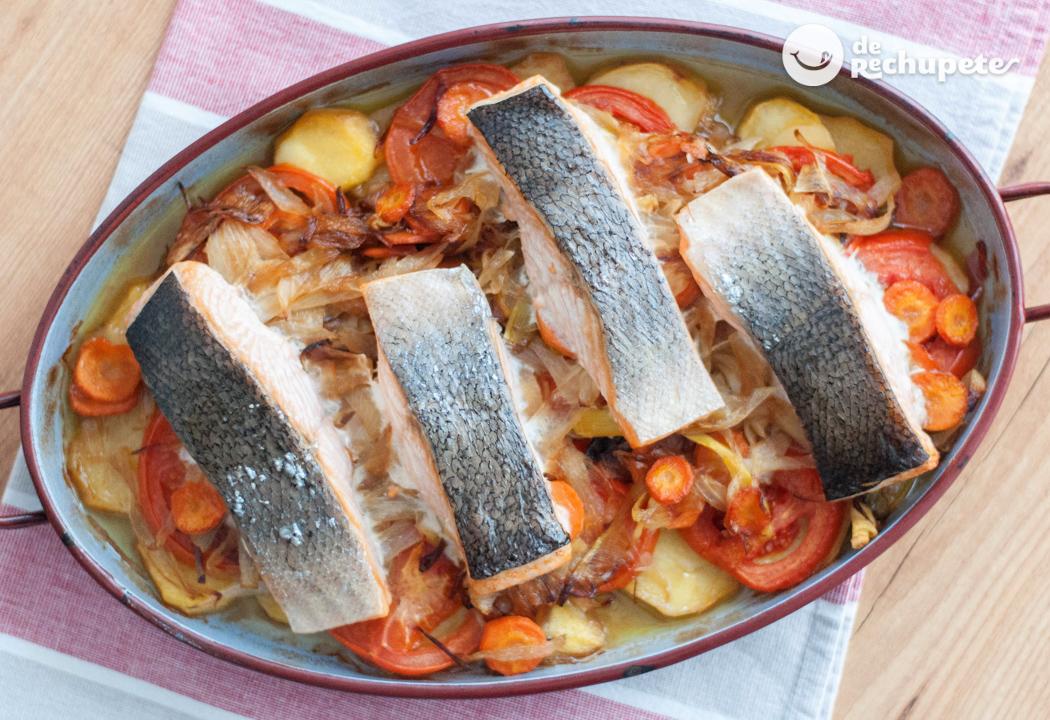 Salm n al horno con verduras for Como cocinar salmon