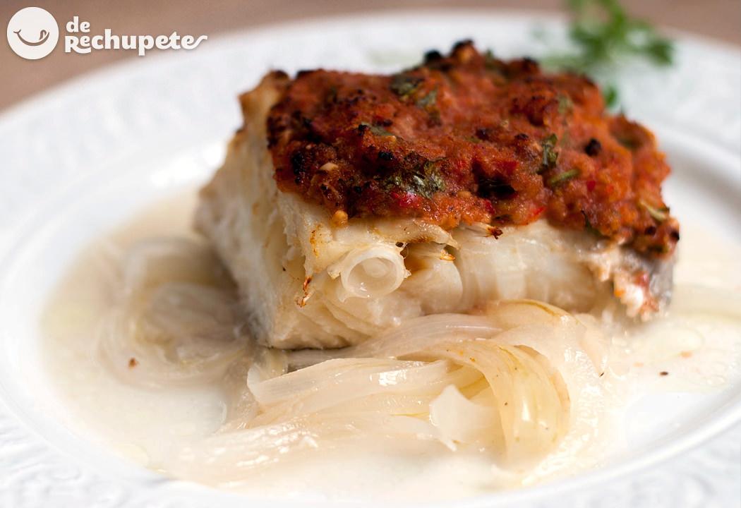 Bacalao al horno con tomate y pimientos for Como cocinar bacalao al horno