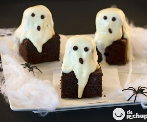 Brownies fantasma. Receta Halloween