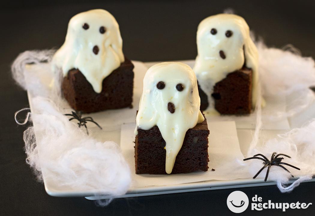 Brownies fantasma. Receta Halloween