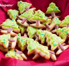 Cómo decorar galletas. Mini abetos de Navidad