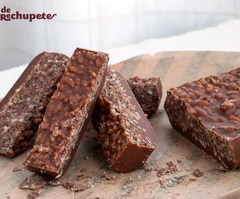 Turrón de chocolate crujiente con arroz inflado