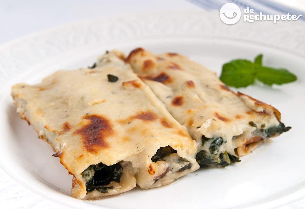 Canelones de espinacas y jamón. Receta italiana de cannelloni di spinaci