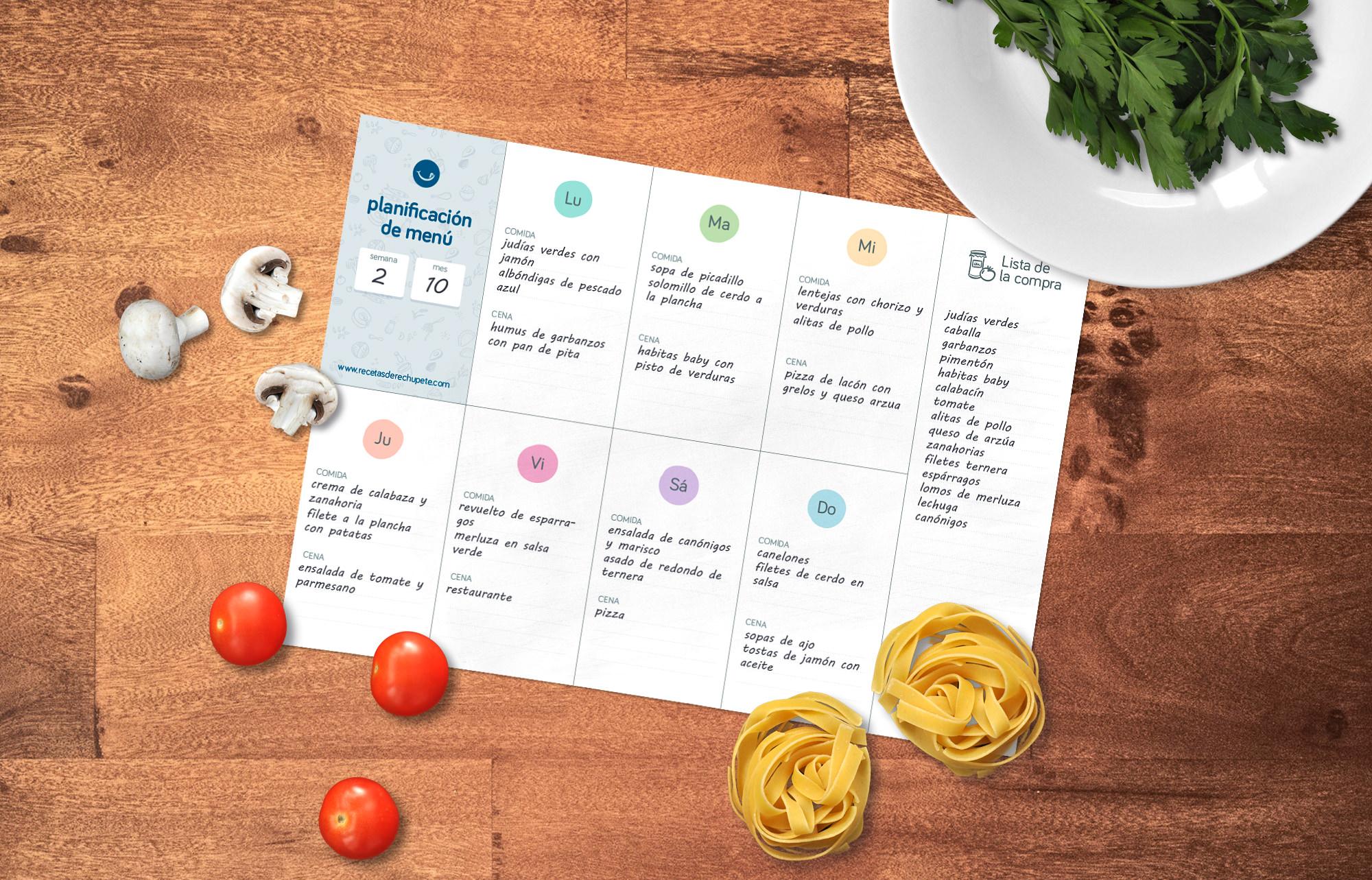Plantilla de menú semanal para imprimir - Recetas de rechupete ...