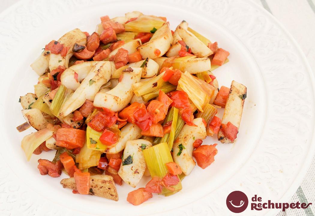 Sepia a la plancha con verduras