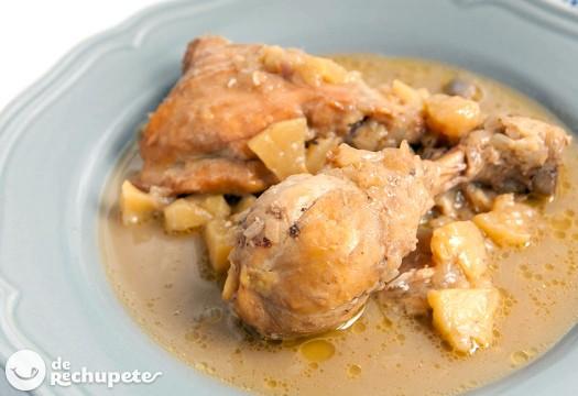 Pollo a la sidra con manzana