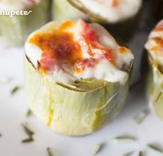 Alcachofas al horno con jamón y bechamel