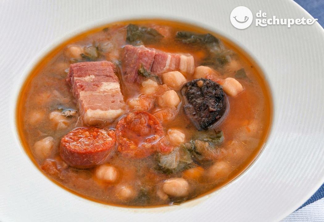Potaje de garbanzos y espinacas receta de abuela - Potaje de garbanzos y judias ...