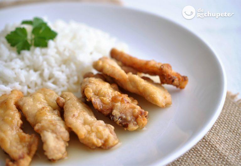 Pollo al limón con arroz blanco. Receta china fácil