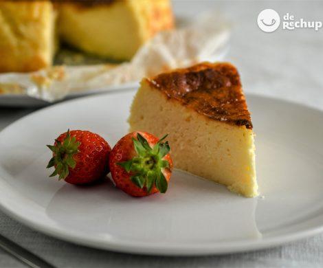 Tarta de queso al horno. Receta fácil, muy esponjosa y con poco azúcar