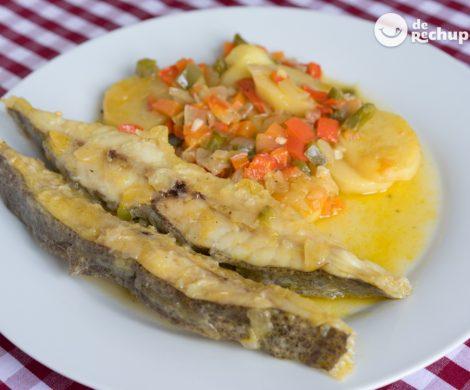 Rodaballo guisado con patatas y verduras. Receta fácil y deliciosa