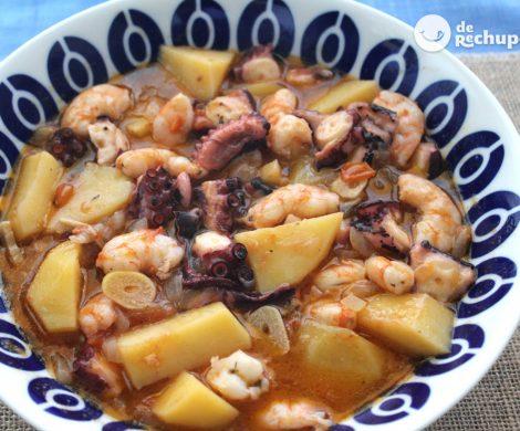 Guiso de pulpo y langostinos con patatas