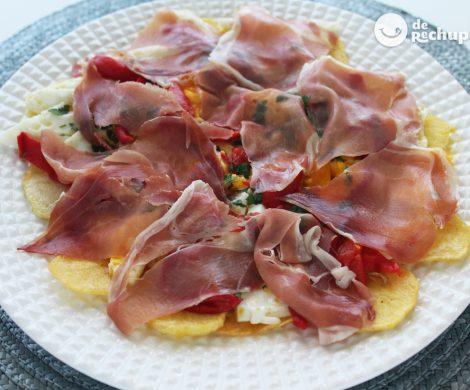 Huevos rotos con jamón. Receta fácil y deliciosa para toda la familia
