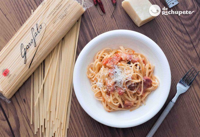 Pasta con salsa Amatriciana (Spaghetti alla Amatriciana)
