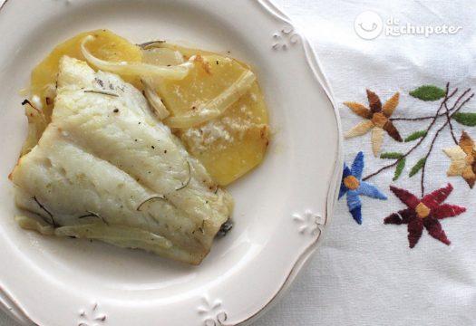 Bacalao al horno con patatas y cebolla