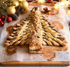 Árbol de Navidad de hojaldre y chocolate