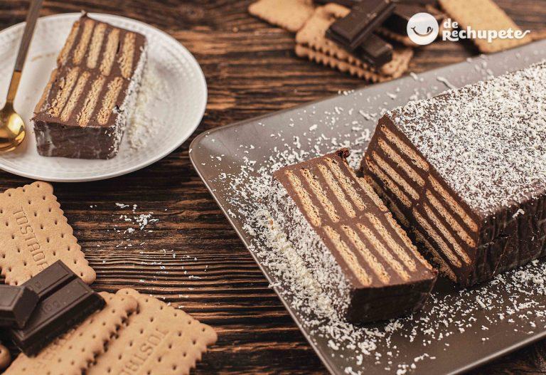 Tarta de galletas y chocolate sin horno