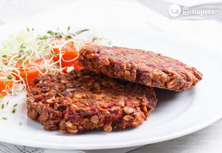Hamburguesa de lentejas y arroz