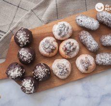 Panellets de chocolate, vainilla y coco. 3 opciones para triunfar en la Castañada