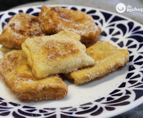 Teresitas de sartén rellenas de crema pastelera. Postre asturiano