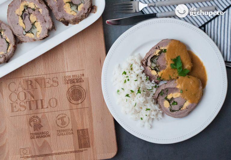 Rollo de Ternera Gallega IGP rellena con foie y arroz blanco