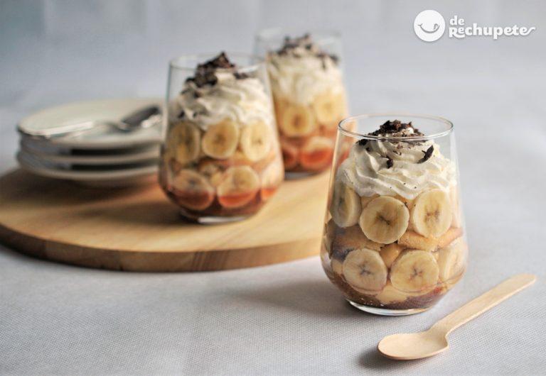 Trifle de plátano y crema pastelera