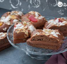 Roscón de Reyes de chocolate relleno de crema de chocolate o trufa