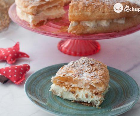Roscón de hojaldre con nata. La opción fácil para Reyes