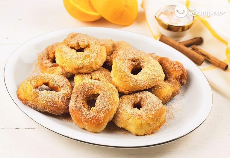 Rosquillas o roscos fritos con limón y naranja. Receta de la abuela