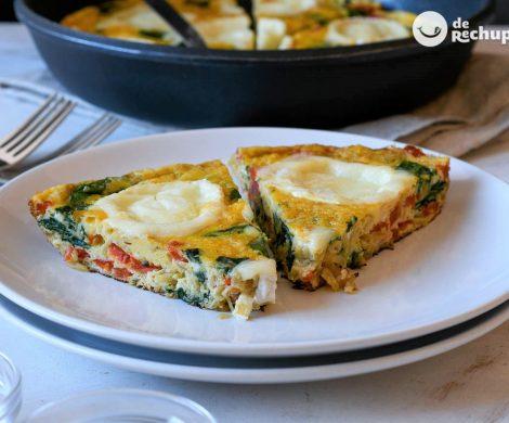 Frittata de verduras y queso de cabra. Receta vegetariana italiana paso a paso