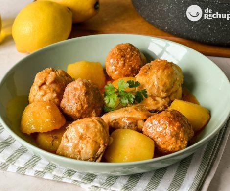 Guiso de pollo con pelotas de carne. Receta murciana paso a paso